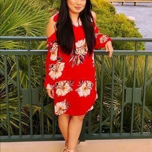 Bellanblue Dresses - Tropical print red dress